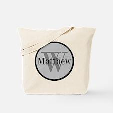 Gray Name and Initial Monogram Tote Bag