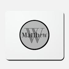 Gray Name and Initial Monogram Mousepad