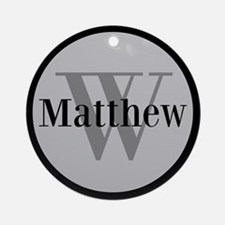 Gray Name and Initial Monogram Ornament (Round)