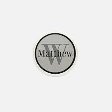 Gray Name and Initial Monogram Mini Button (100 pa