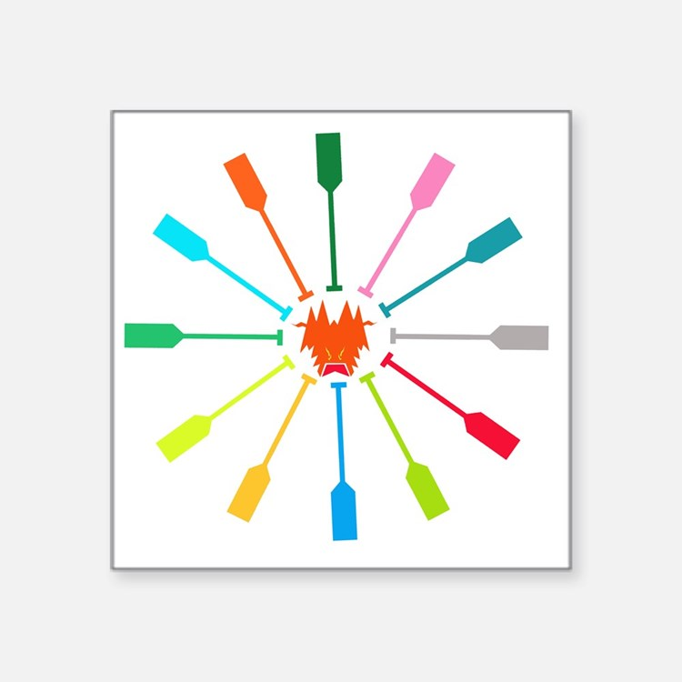 "dragon like colorful paddle Square Sticker 3"" x 3"""