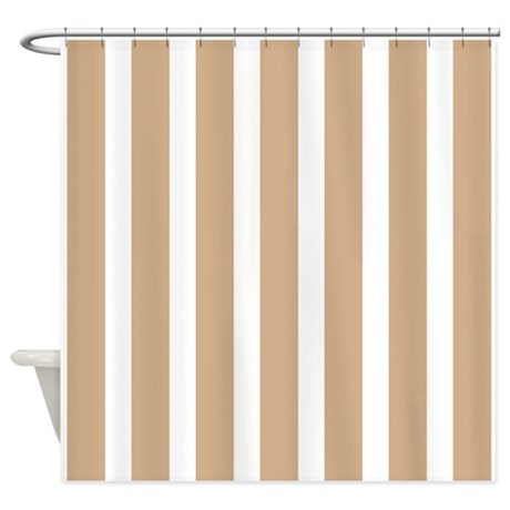 tan and white stripes shower curtain by showercurtainsworld