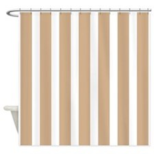 tan and white stripes Shower Curtain
