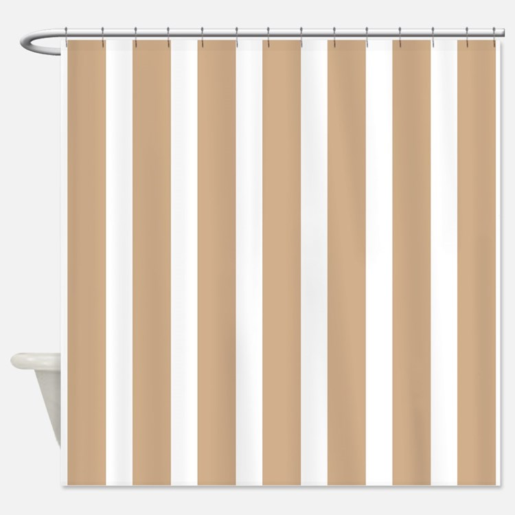 Tan And White Stripes Shower Curtains