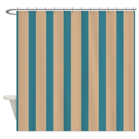 Tan And Teal Stripes Shower Curtain By ShowerCurtainsWorld