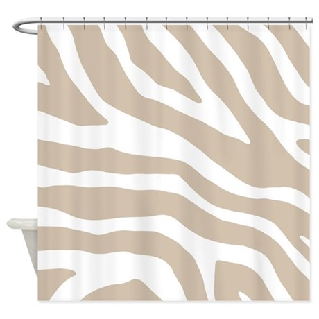 Beige White Zebra Pattern Shower Curtain By DreamingMindCards