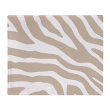 Beige White Zebra Pattern Throw Blanket