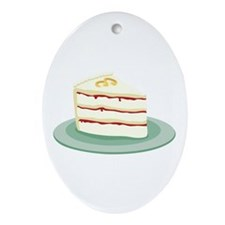 Wedding Cake Slice Ornament (Oval)