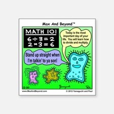"Amoeba Math Cartoon Square Sticker 3"" x 3"""