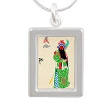 Peking Opera Guanyu Silver Portrait Necklace