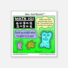 "Amoeba Math Cartoon Square Sticker 3"" x 3"""