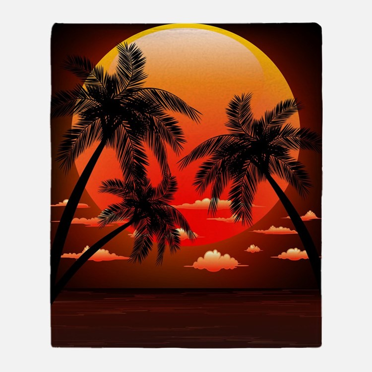 Warm Topical Sunset with Palm Trees Throw Blanket