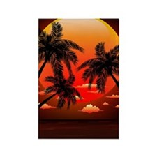 Warm Topical Sunset with Palm Tre Rectangle Magnet