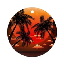 Warm Topical Sunset with Palm Trees Round Ornament