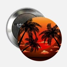 "Warm Topical Sunset with Palm Trees 2.25"" Button"
