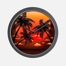 Warm Topical Sunset with Palm Trees Wall Clock