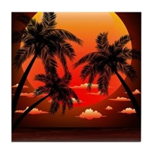 Warm Topical Sunset with Palm Trees Tile Coaster