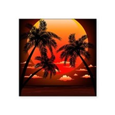 "Warm Topical Sunset with Pa Square Sticker 3"" x 3"""