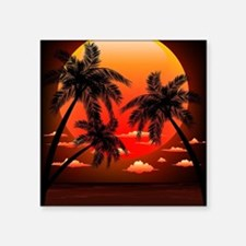"""Warm Topical Sunset with Pa Square Sticker 3"""" x 3"""""""