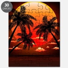 Warm Topical Sunset with Palm Trees Puzzle