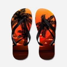 Warm Topical Sunset with Palm Trees Flip Flops