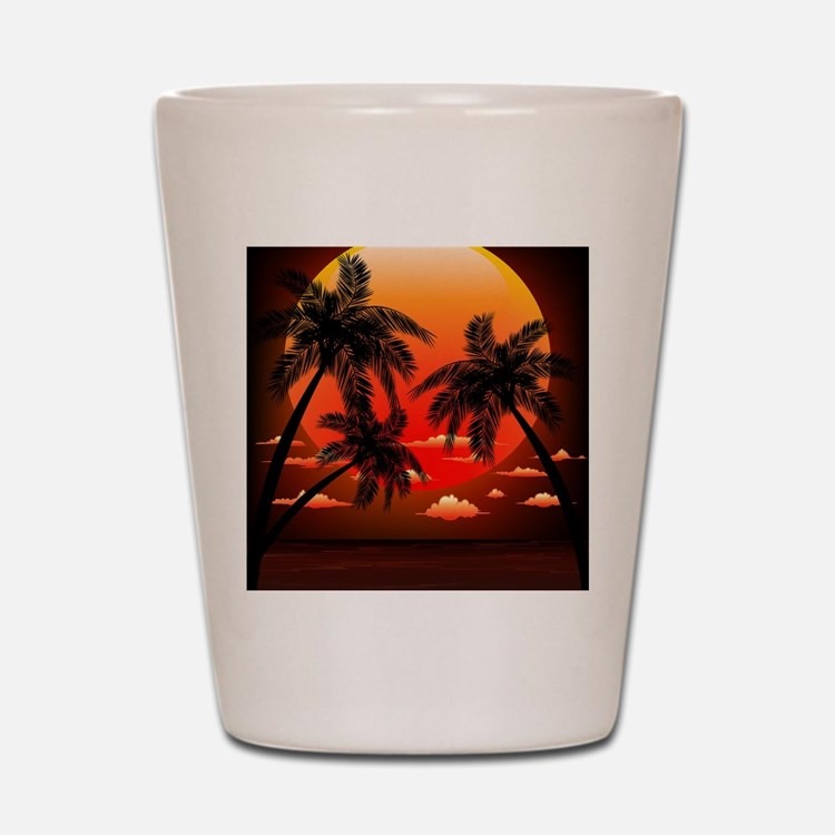 Warm Topical Sunset with Palm Trees Shot Glass