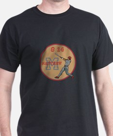 Baseball Player Monogram Number T-Shirt