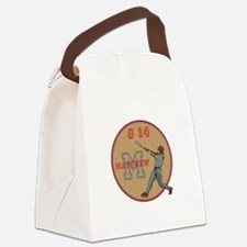 Baseball Player Monogram Number Canvas Lunch Bag