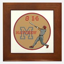 Baseball Player Monogram Number Framed Tile