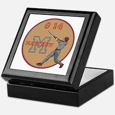 Baseball Player Monogram Number Keepsake Box