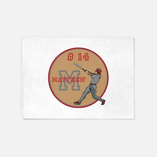 Baseball Player Monogram Number 5'x7'Area Rug