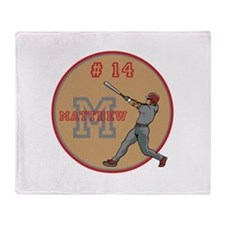 Baseball Player Monogram Number Throw Blanket