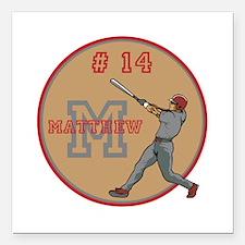 Baseball Player Monogram Number Square Car Magnet
