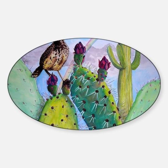 Ryan James Cactus Landscape Sticker (Oval)