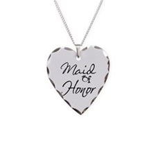 Maid of Honor Necklace Heart Charm