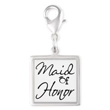 Maid of Honor Silver Square Charm