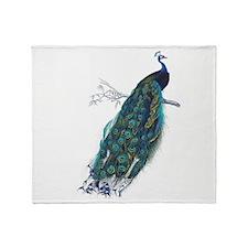 Vintage peacock Throw Blanket