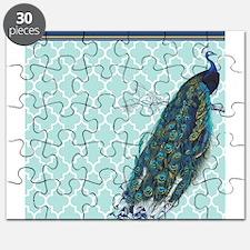 Peacock mint quatrefoil Puzzle