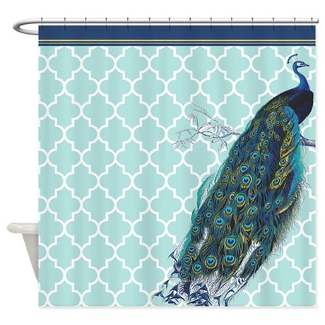 Peacock Mint Quatrefoil Shower Curtain By Admin Cp49789583