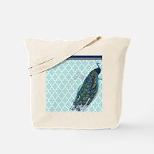 Peacock mint quatrefoil Tote Bag