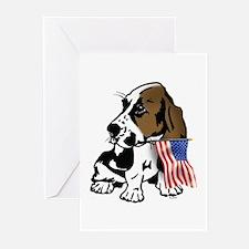 Basset Hound Flag Greeting Cards (Pk of 10)