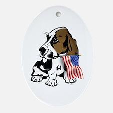 Basset Hound Flag Oval Ornament
