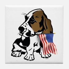 Basset Hound Flag Tile Coaster