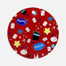 Red Magic Show magician pattern Ornament (Round)