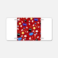 Red Magic Show magician pattern Aluminum License P