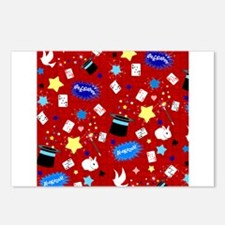 Red Magic Show magician pattern Postcards (Package