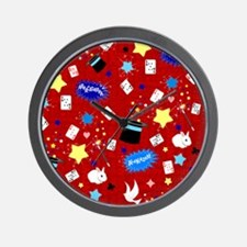 Red Magic Show magician pattern Wall Clock