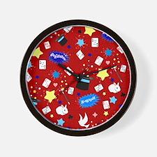 Red Magic Show magician pattern Wall Clock