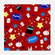 Red Magic Show magician pattern Tile Coaster
