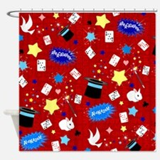 Red Magic Show magician pattern Shower Curtain